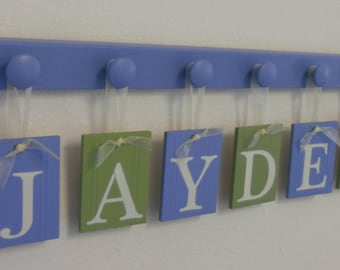 Childrens Personalized Decor Name Signs Includes 6 Peg Hooks and Babies Name JAYDEN Baby Blue and Light Green. Boys Room Wall Decor