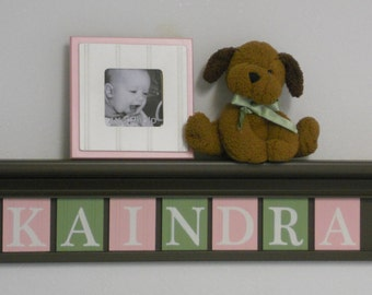 Personalized Nursery Letters | Wall Decor | Chocolate Brown Shelf | Name Sign Wood Letters | Light Pink and Light Green