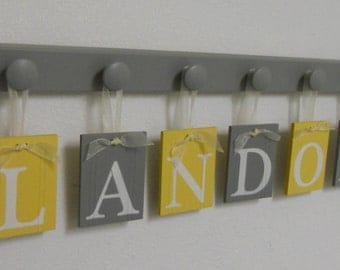 Wooden Alphabet Letters in Grey and Yellow Set Hanging on 6 Wooden Hooks for Baby LANDON