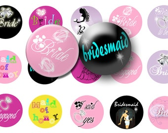 INSTANT Download Bride and Bridal Party 1 inch circles digital collage sheet great for bottle caps and more BUY 3 get 1 FREE