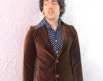 70's Vintage Men's Brown Velvet Blazer Jacket small