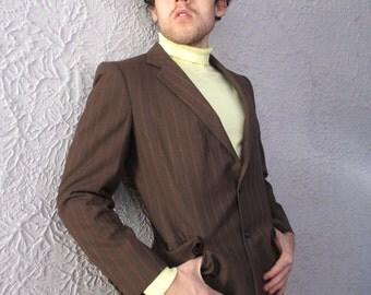 60s Vintage Men's Mod Gabardine Striped Suit 40 C/ 36 W