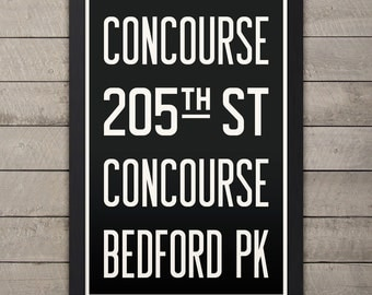 BROOKLYN (CONCOURSE / BEDFORD) New York City Subway Sign. Bus Scroll. 12 x 18 Rollsign Print