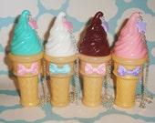 Pastel Star Ice Cream Soft Serve Cone Scented Bubbles Necklace
