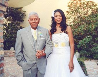 Grey, Yellow & White Wedding Sash, Grey and Yellow Bridal Sash, Grey Wedding Belt, Grey and Yellow