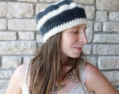 Felted French Beret / Crochet Wool Beanie Hat / Grey and Cream Winter Womens Hat