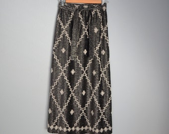 Vintage 70s Black Metallic Thread Beaded Bohemian Maxi Skirt // womens small