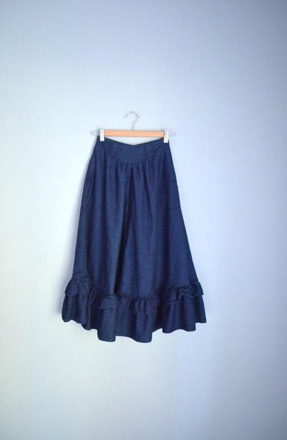 vintage 70s 80s denim jean prairie skirt by