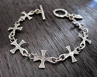 Small Textured Artisan Cross Link Bracelet in Sterling Silver (B3)