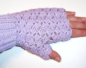 5 Dollar Fancy Lavender Pink Fingerless Gloves Hand Crocheted
