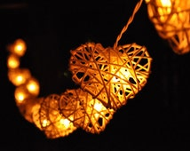 35 Bulbs White Love Rattan Heart string lights for Patio,Wedding,Party and Decoration