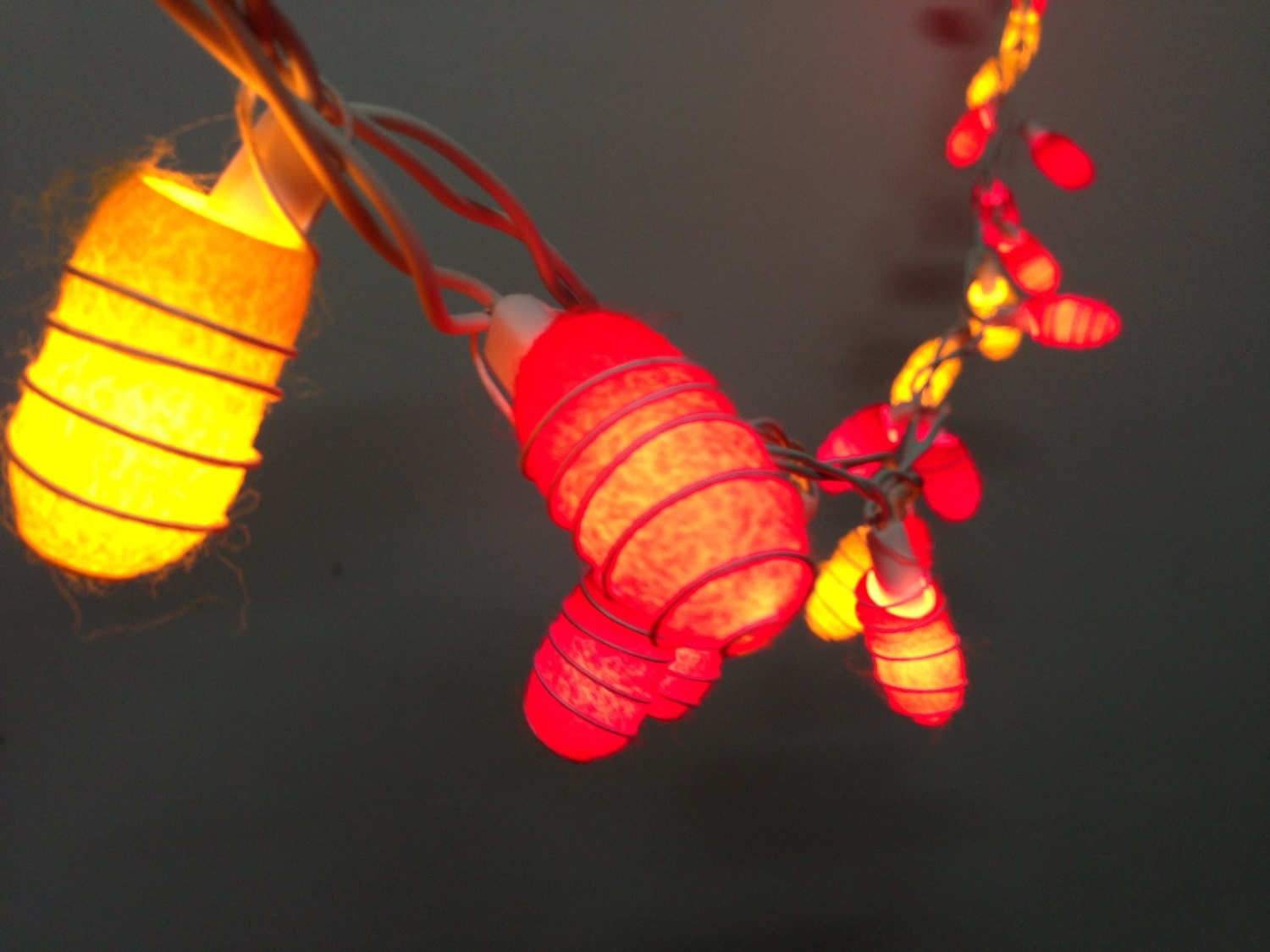 Custom Party String Lights : 35 bulbs Handmade Sunset shade Cocoon string lights for