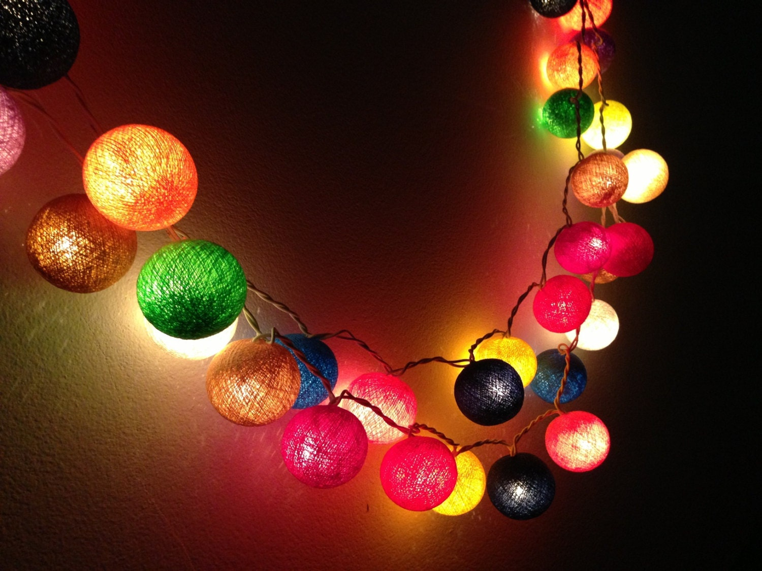 20 bulbs carnival night light cotton ball string lights for. Black Bedroom Furniture Sets. Home Design Ideas