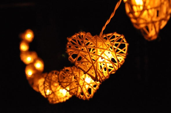Custom Party String Lights : 35 Bulbs White Love Rattan Heart string lights for