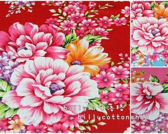 k324 - Traditional Taiwanese Floral -  in full Yard (5 color to choose ) 157 cm wide