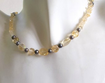 Citrine and Black Pearl Necklace