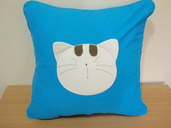 Handsewn Sleeping Cat  Applique Cotton Pillow or Cushion Case