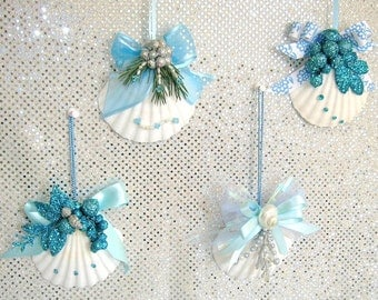 Wedding Favors or Special Occasion Favors, Seashell Ornaments, Christmas Ornaments, Set of 4
