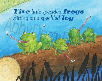 5 Little Speckled Frogs, Frog, Log, Pre-school Art, Nursery Decor, Brightly Colored, Print