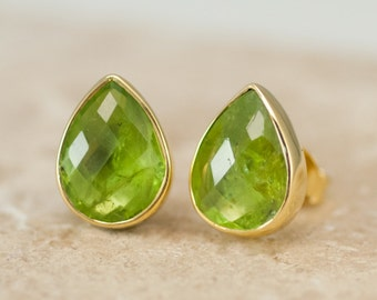 Peridot Stud Earrings - August Birthstone Studs - Gemstone Studs - Tear Drop Studs - Gold Stud Earrings - Post Earrings
