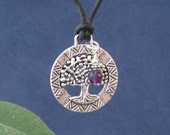 Tree of life, Amethyst Charm, Sterling Silver, Gifts for Her,  Bohemian Jewelry, Crown Chakra Stone Protection Black Leather Rope Necklace