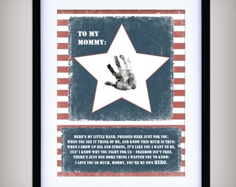 Mommy, You're My Hero - 8x10 Printable Art - INSTANT DOWNLOAD - Add your child's print - Gift for Deployed Solider - Military - Mother's Day