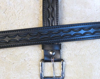 Hand-tooled Black Leather Belt - B20101 - FREE US Shipping