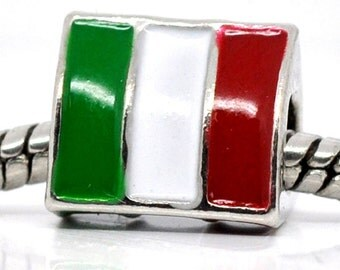 ITALY Flag Italian European Bead Charm World Cup Championship Olympics Bracelet, Collect all the Flag Beads for your Bracelet, SAVE 3/5.00