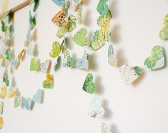 Heart garland, recycled map garland bunting, 12 ft wedding garland party decor photo booth bridal baby shower nursery kids travel decor