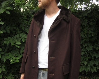 Vintage Mens Dark Brown Wool Coat Fully Lined  MINT Condition Sears The Men Store Country Coat 40