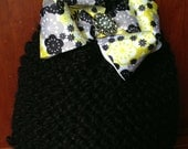 Hand Knitted Black Hat with Grey Black and Yellow Bow