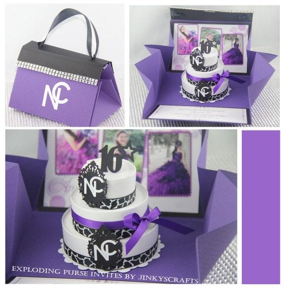 Purple Purse Invitation Wedding Box Invitation Quinceañera