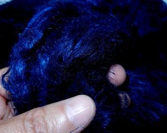 Hemp roving - very dark navy blue