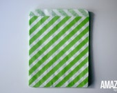 25 lime green & white striped bakery treat bags