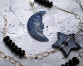Blue moon necklace, blue aventurine moon, lapis star, black onyx, sterling silver, unique jewelry by Grey Girl Designs on Etsy - greygirldesigns