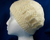 Knitted Lace Beanie Hat - Adult Size Cap
