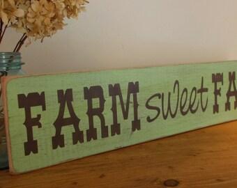 Farm Sweet Farm Distressed Wood Sign
