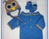 a  Baby Owl set, Earflap hat, sweater,Ankle booties, pants set,0-3 months,made to order