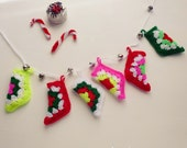 Stocking Holiday Christmas Crochet Pattern  - pdf ebook crochet EASY  tree ornament bunting - Instant DOWNLOAD