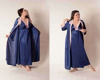 Vintage Blue Peignoir Nightgown Robe - Lingerie Set - Size Large