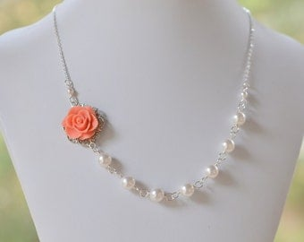 Coral Rose Bridesmaid Statement Necklace.  Coral Rose and White Swarovski Pearl Bridal Jewelry.  Wedding Party Gift.