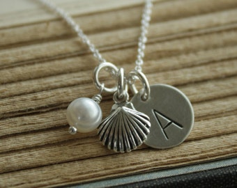 Sterling Silver Personalized Handstamped Letter and Shell Charm Necklace
