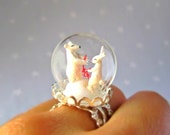 Christmas Ring Polar Bear and White Rabbit with a red garland -Terrarium ring for Winter-Miniature