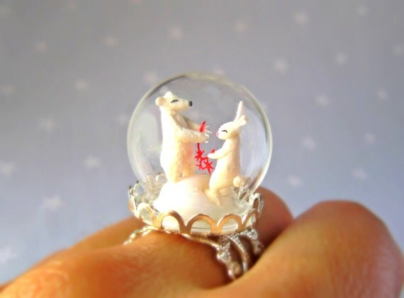 Ring Polar Bear and White Rabbit with a red garland -Terrarium ring for Winter-Miniature