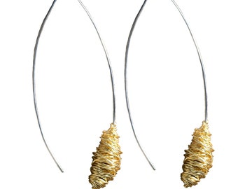 White Gold Earrings with Yellow Brass Wrap
