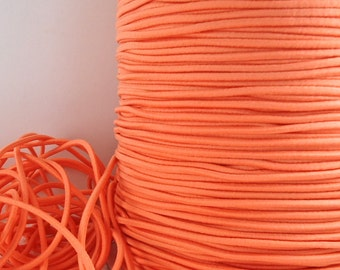 5yds Elastic Thin Bands 2mm  Orange Elastic Cords String Headbands Wristbands Elastic by the yard