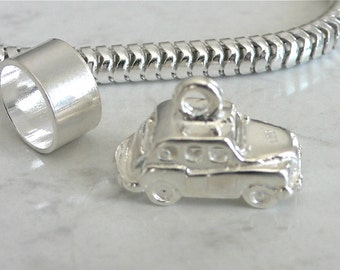 LONDON TAXI CAB England Sterling Silver Travel Charm Fits All Slide On Bracelets