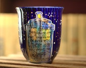 "Doctor Who ""All of time and space"" Quote Mug - Large, blue mug, hand painted with TARDIS and stars - Spacey wacey galaxy mug"