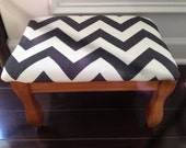 Upcycled Vintage Chevron Footstool