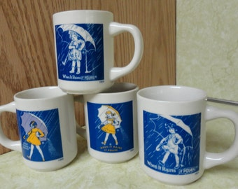 MORTON SALT 4 cup Anniversary Set Advertising Premium 1960's Made in Japan